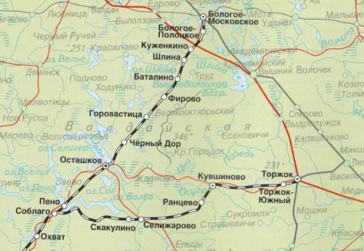 """Ретро поезд """"Селигер"""": маршрут поезда из Бологого в оташков"""